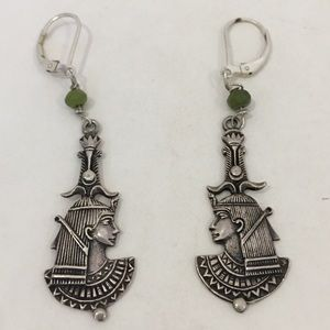Jewelry - FIRM-Egyptian Revival sterling earrings,jade beads